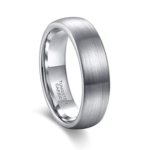 Satin Hers Tungsten (Greenpod 6mm Tungsten Carbide Wedding Band Ring Domed Round Brushed Comfort Fit Size 4)