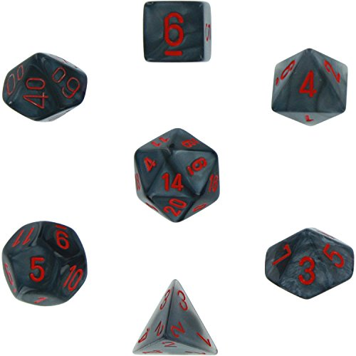 Chessex Polyhedral 7-Die Velvet Dice Set - Black With Red 27478