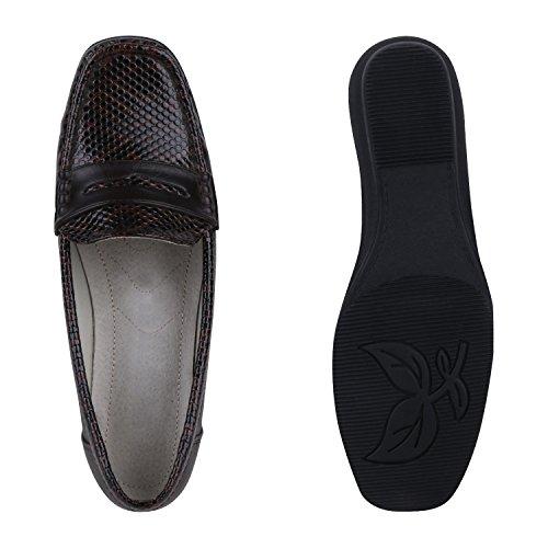 Stiefelparadies Damen Komfort Schuhe Perlen Pumps Schleifen Keilpumps Slipper Flandell Dunkelbraun Snake Carlet