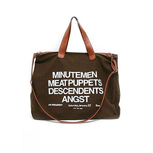 Hrph Unisex-koreanische Art Brief Printed Handbag Multi-Purpose-Leinwand Umhängetasche Freizeittasche