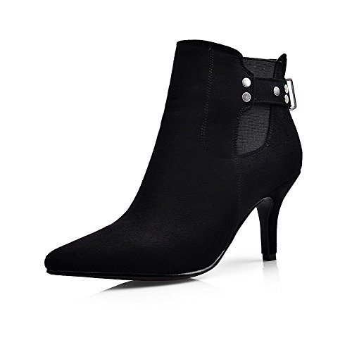 AllhqFashion Womens High-Heels Pointed Closed Toe Imitated Suede Low-Top Solid Zipper Boots, Black-Buckle, 34