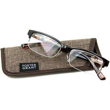 Foster Grant Bentley Tortoise Half-Rim Reading Glasses +2.50 with case