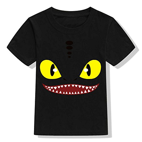 Kids How to Train Your Dragon T Shirt Toothless Night Fury Dragon Cotton T-Shirts (8T Fit 53.1'', ()