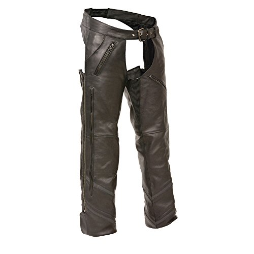 The Milwaukee Men's Motorcycle Reflective Vented Leather Riding CHAP Pants Soft Black (Large)