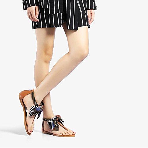 Sandales - Sandales à la Cheville de la Mode des Femmes Flip Flops Clip Toe Casual Low Flat Heel Shoes Green sSWcJ6xG
