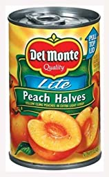 Del Monte Lite Yellow Cling Peach Halves in Extra Light Syrup 15oz (Pack of 6)