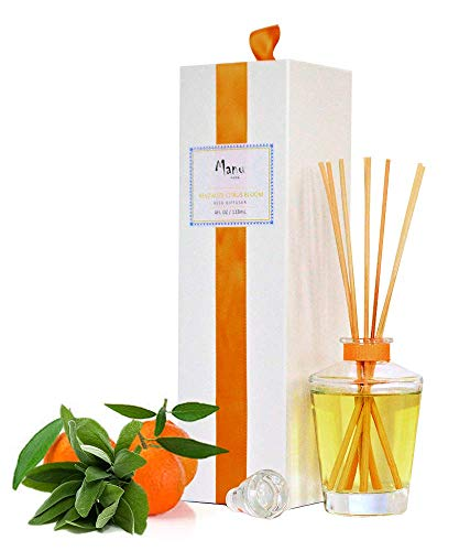 Manu Home REVITALIZE Citrus Reed Diffuser Oil Set ~ A Refreshing Blend of Sage and Mandarin That Will Awaken Your Senses | Organic Aromathearpy Oils Used | Proudly Made in USA