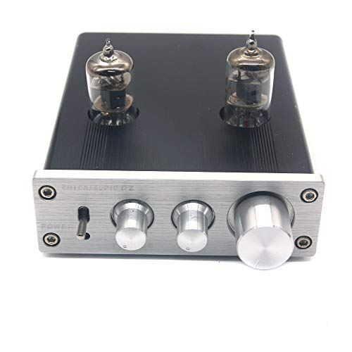 D2 HIFI Digital Audio Preamp 6J1 Valve Tube Preamplifier Dual Channel Treble Bass with Power Adapter Silver
