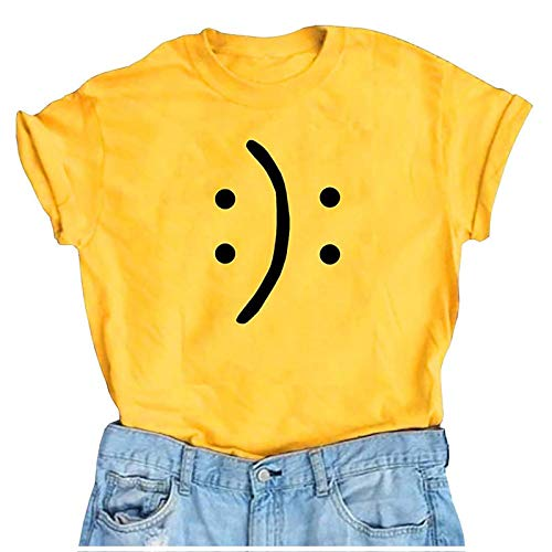 Mortilo Women's T-Shirts, Funny Smile Face Design Casual Short Sleeve Top Tees(Yellow,S)