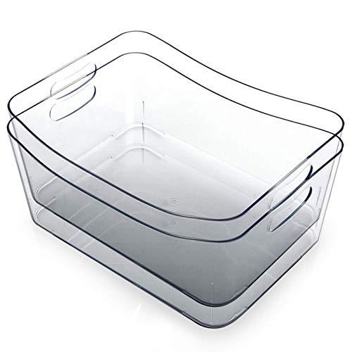 BINO   Plastic Storage Bins, Small – 2 Pack   The SOHO Collection   Multi-Use Organizer Bins   Built-in Handle   BPA…