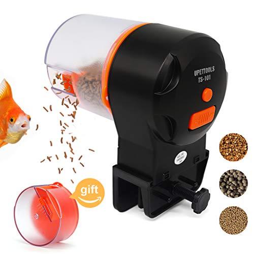 Upettools Automatic Fish Feeder, Aquarium Tank Timer Feeder with 2 Fish Food Dispensers (Orange)