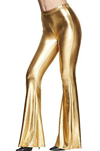 Tamskyt Womens Wide Leg Shiny Liquid Metallic Bell Botton Flared Palazzo Pants (One Size, Gold) (Shiny Pants)