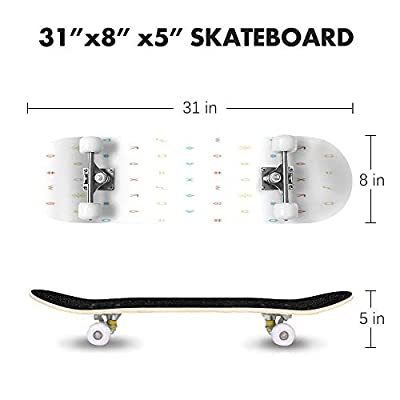 Cuskip Seamless Pattern of The Business Icons Key Seamless Stock Skateboard Complete Longboard 8 Layers Maple Decks Double Kick Concave Skate Board, Standard Tricks Skateboards Outdoors, 31