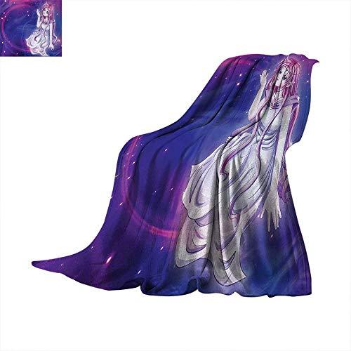 Anime Digital Printing Blanket Cute Purple Anime Fairy Sitting in Theme of Zodiac Astrology Horoscope Sign Artprint Summer Quilt Comforter 62
