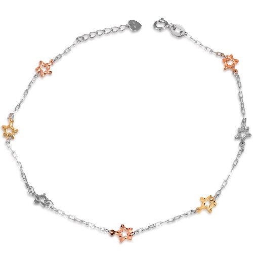 14K Italian Tri-Color Yellow, Rose and White Gold Diamond-Cut Stars Station Fashion Anklet (9')