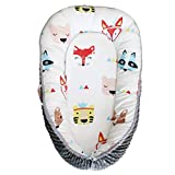 Abreeze Red Fox Baby Lounger, Baby Nest Portable Super Soft Organic Cotton and Breathable Newborn Lounger Baby Snuggle Nest Sponge Bottom- Perfect for Co-Sleeping 0-24Months