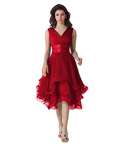Mousseline De Femmes Drasawee Cou V Courte Robes De Soirée Robe De Demoiselle D'honneur Prom Bourgogne