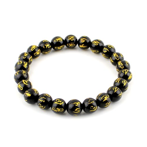 Agate Black Bracelet Carved (O-stone Black Agate Bracelet Carved Om Mani Padme Hung 8mm Meditation Mala Grounding Stone Protection)
