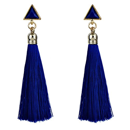 - FAPIZI Clearance Bohemian Ladies Fashion 9 cm Bohemian Rope Tassel Earrings Ethnic Ear Stud Hanging Drop Eardrop for Women (Blue)