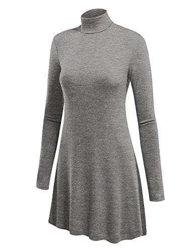 MBJ WT992 Womens Long Sleeve Turtleneck Sweater Tunic with Various Hem M HEATHER_GREY
