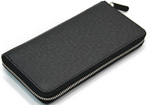 【Shikyou】 Stylish Men's Round Fastner Wallet Purse Embossing (Black) by Shikyou