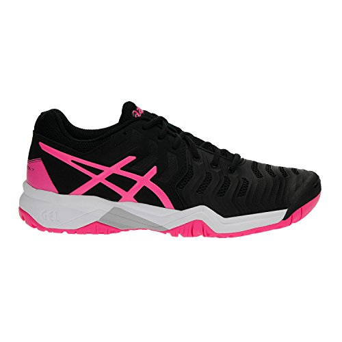 ASICS Kids' Gel-Resolution 7 GS Tennis Shoe, Black/Hot Pink/Silver (4 US)