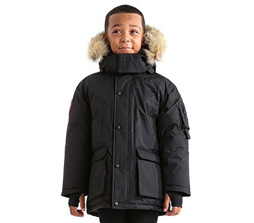 Triple F.A.T. Goose Hesselberg Boys Hooded Goose Down Arctic Parka with Real Coyote Fur (4, Black) by Triple F.A.T. Goose