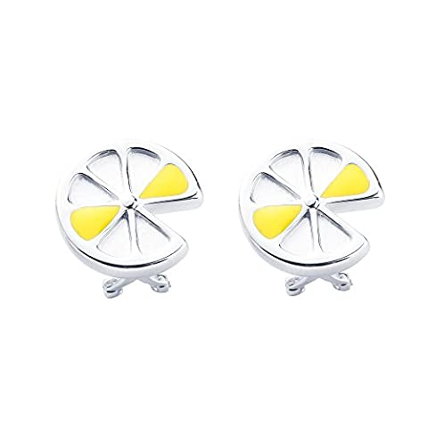SILVERAGE Sterling Silver Lemon Slices Stud Clip on Earrings