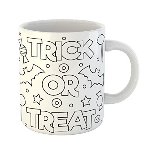 Emvency 11 Ounces Coffee Mug Halloween Trick Treat Coloring Page Book Drawing Kids Adorable Line White Ceramic Glossy Tea Cup With Large C-handle