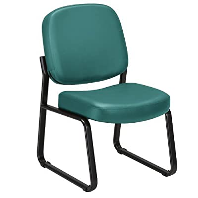 "Vinyl Armless Guest Chair with Tube Steel Sled Base and 3"" Padded Seat"