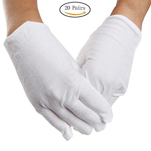 20 Pairs White Cotton Gloves, M Size Soft Gloves