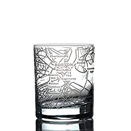 Greenline Goods Whiskey Glasses – 10 Oz Tumbler for Boston Lovers (Single Glass) | Etched with Boston Map | Old…