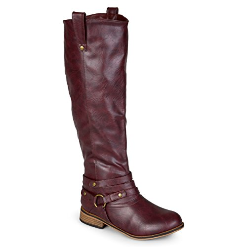 Journee Collection Womens Regular Sized and Wide-Calf Ankle-Strap Knee-High Riding Boot Wine 9 Wide Calf (Knee Extra Boots High Calf Wide)