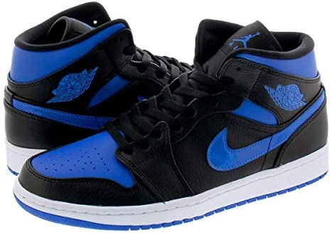 AIR JORDAN 1 MID BLACK/BLUE/WHITE 【ROYAL】 [並行輸入品]