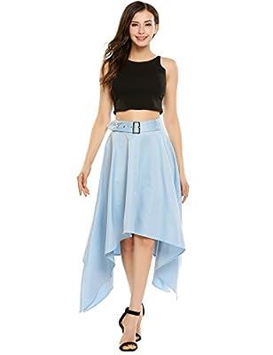 Zeagoo Women's High Waist Solid Formal Party Wedding Skirt