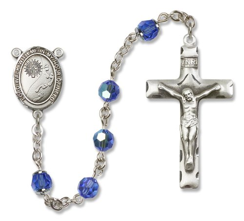All Sterling Silver Rosary with Sapphire, 6mm Swarovski, Austrian Tin Cut Aurora Borealis Beads. Footprints/Cross Center.