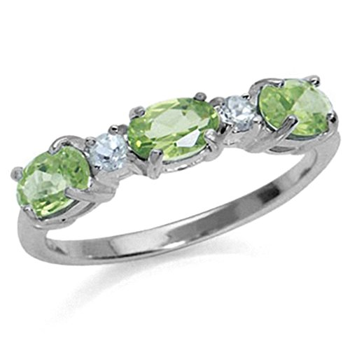 1.38ct. 3-Stone Natural Peridot & White Topaz Gold Plated 925 Sterling Silver Ring Size - Ct Natural 1.38