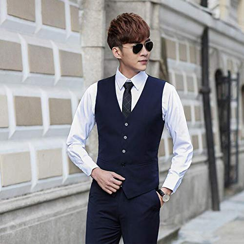 Fit De Trajes Wedding Navy Chalecos Slim Hombre Party Mangas Vintage Casual Gentleman Business Sin vwq1d