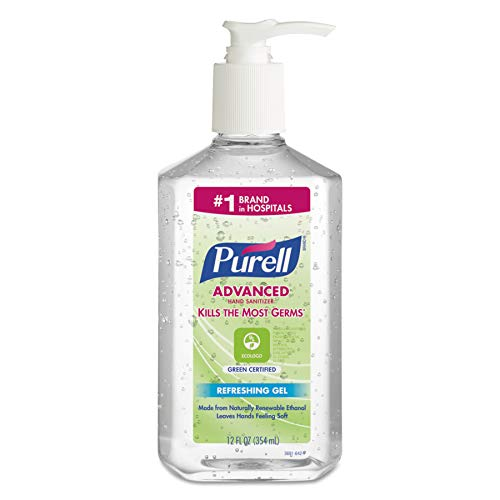 PURELL Advanced Green Certified Hand Sanitizer Gel, Fragrance Free, 12 fl oz Sanitizer Table Top Pump Bottles (Case of 12) - 3691-12 ()