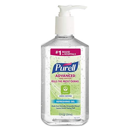 PURELL Advanced Green Certified Hand Sanitizer Gel, Fragrance Free, 12 fl oz Sanitizer Table Top Pump Bottles (Case of 12) - 3691-12