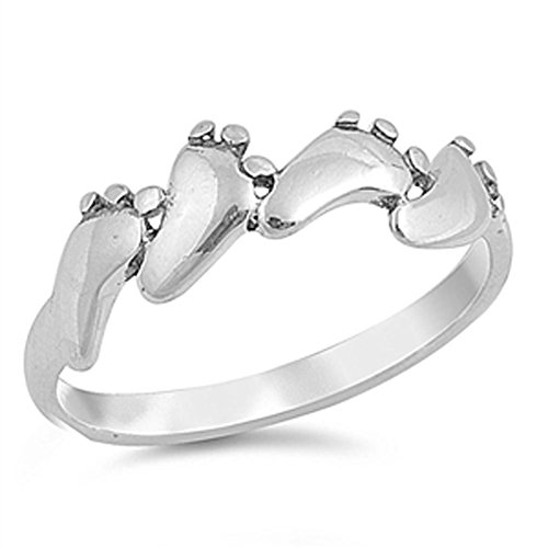 Baby Feet Foot Footprint Ring New .925 Sterling Silver Band Size 9 (RNG15395-9) (Rings Baby With Feet)