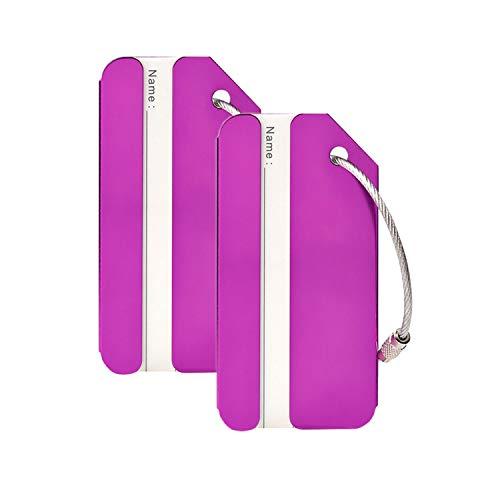 Tags Stainless Steel Luggage (Aluminum Luggage Tags Holders, Luggage Baggage Identifier by LouisJoeYu(Purple-2))