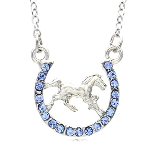 Soulbreezecollection Horse Mustang Pony Horseshoe Necklace Pendant Lucky Charm Western Cowboy Cowgirl (Blue)