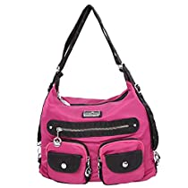 Angelkiss 3 use Multi Pockets Handbags Nylon Fabric Shoulder Bags Backpack TP670 (Black)