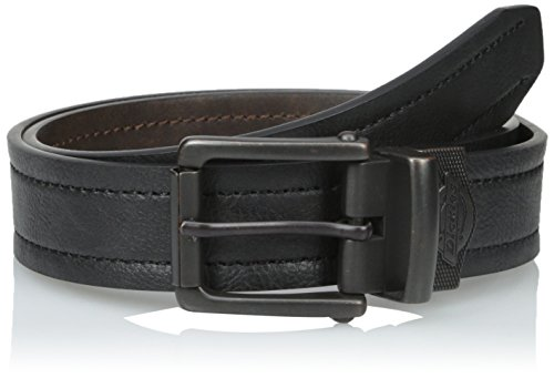 Leather Pebbled Buckle Belt (Dickies Men's Reversible Pebbled Leather Belt, Black/Brown,)