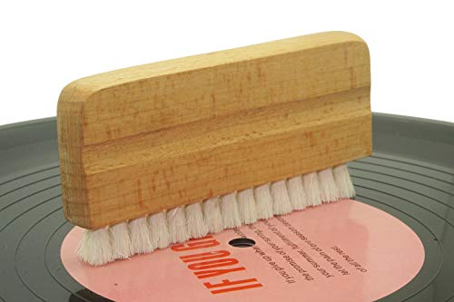 Real(goat's hair) and Wood Handle Brush For Audio Naturally Anti-Static Vinyl Record Cleaning Brush bristles - Audio factory products Wet or Dry Vinyl Record Cleaning - Keep Your Records Sounding Grea (Record Wet Brush)