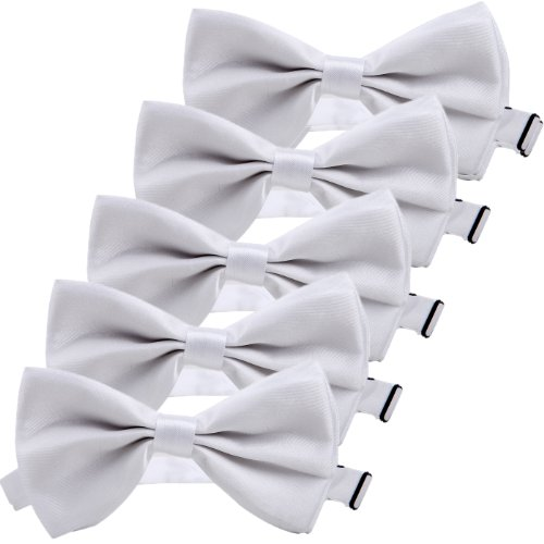 Polyester Bow Tie (HDE Bow Ties Wedding Party 5-Pack Solid Color Adjustable Formal Tuxedo Neckties)