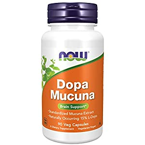 Gut Health Shop 41JVo2UNVzL._SS300_ NOW Supplements, DOPA Mucuna, Standardized Mucuna Extract with Naturally Occurring 15% L-Dopa, 90 Veg Capsules