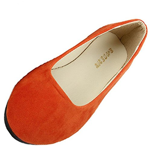Donalworld Womens Comfort Ballet Basic Scarpe Tonde Piatte Arancione