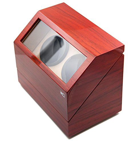 KAIHE-BOX Classic Watch Winders for 2 Watches for automatic Watch Winder Rotator Case Cover Storage(2 color,ww-02132) , Red by KAIHE-BOX (Image #1)'